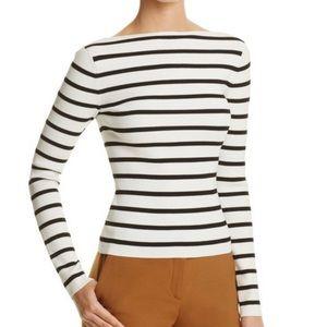 THEORY Blasina Striped Ribbed Long Sleeve Size S